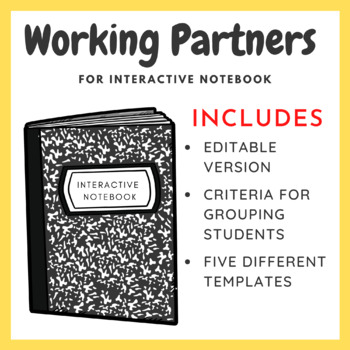 Working Partners for Interactive Notebook (4 styles to choose from)