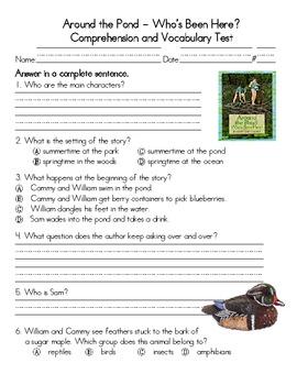 Around The Pond Comprehension & Vocabulary Test