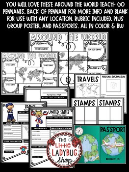 Around The World Research Project Templates • Teach- Go Pennants™