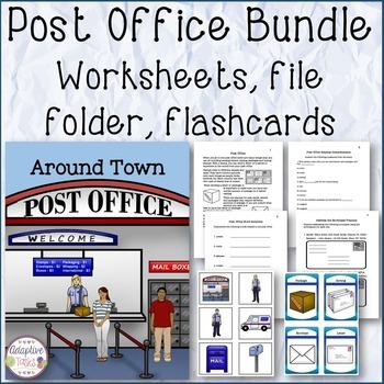 POST OFFICE BUNDLE Worksheets, File Folder, and Flashcards