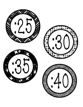 Around the Clock Labels - Multi black and white
