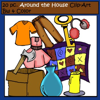 Around the House 20 pc. Clip-Art Set: 10 B&W, 10 Color