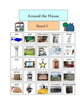 Around the House - visually supported Bingo - includes 5 boards PDF