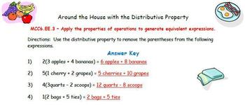 Around the House with the Distributive Property - Common Core