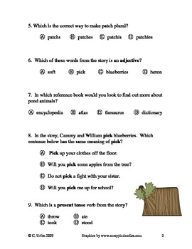 Around the Pond: Who's Been Here? ~ Language Arts Quiz/Test