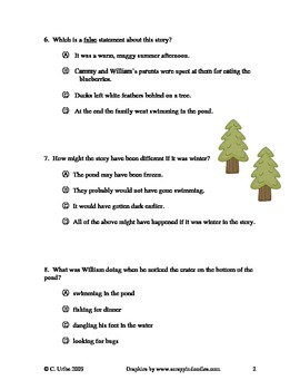 Around the Pond: Who's Been Here? ~ Reading Comprehension Test/Quiz