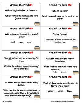 Around the Pond: Who's Been Here? ~ Scoot Game ~ Language Arts ~ Task Cards