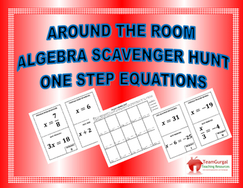 Around the Room Algebra Scavenger Hunts:  One Step Equations