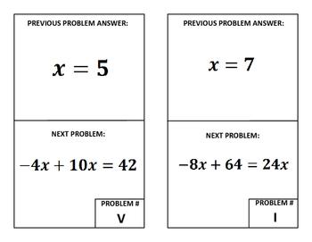 Around the Room Algebra Scavenger Hunts:  Two Step Equations