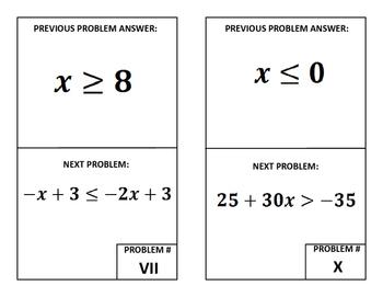 Around the Room Algebra Scavenger Hunts:  Solving Inequalities