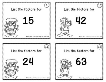 Prime Factorization, Prime and Composite, and Factors Task Cards