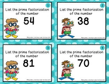 Prime Factorization, Prime and Composite Numbers, and Factors Task Cards