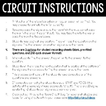Science Formula Chart - Around the Room Circuit