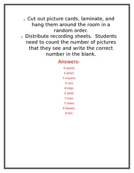 Around the Room Number Recognition Scoot (1-10)