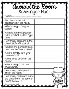 Around the Room Scavenger Hunt - Back to School FREEBIE
