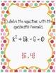 Around the Room - Solving Quadratics with the Quadratic Formula