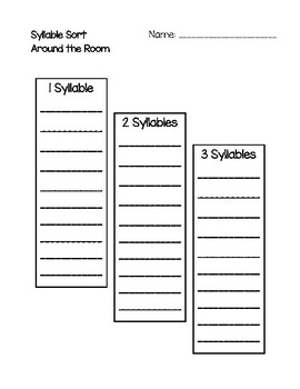 Around the Room - Syllable Sort (Chalkboards)