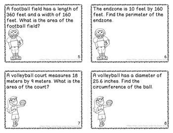 Perimeter Area Circumference Task Cards Sports