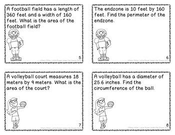 Perimeter Area Circumference Task Cards Sports