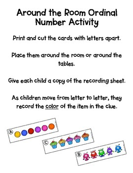 Around the Table Ordinal Number Activity