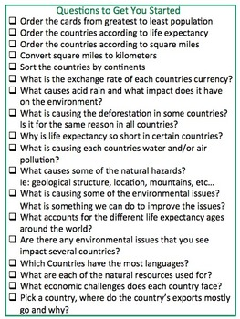 Facts About Countries Around the World Cards 56 Countries