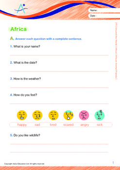 Around the World - Africa: African Animal Friends - Grade 1