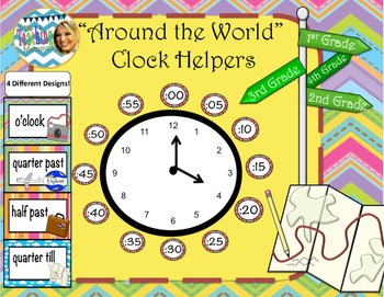 Around the World Clock Helpers (Bright and Colorful)