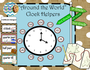 Around the World Clock Helpers (Burlap and Dots)