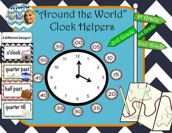 Around the World Clock Helpers (Chevron)