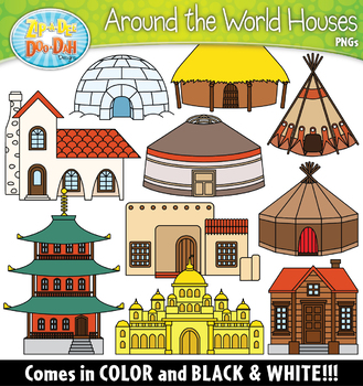 Around the World Houses Clipart Set {Zip-A-Dee-Doo-Dah Designs}