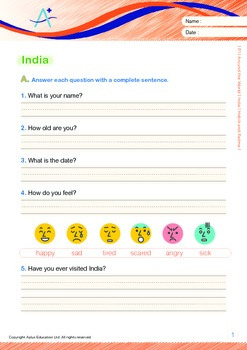 Around the World - India: Habib and Padma  (with 'Triple-Track Writing Lines')
