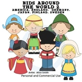 Kids Around the World Set 2 Color Clip Art A. Smith England Germany Japan Finlan