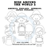 Kids Around the World Set 2 line drawings Clip Art A. Smith England Germany Japa