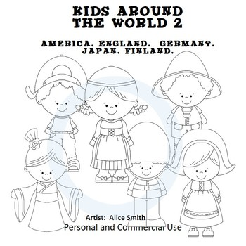 Kids Around the World Set 2 line drawings Clip Art A. Smit