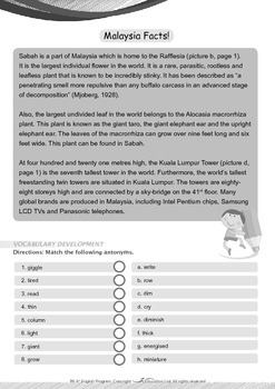 Around the World - Malaysia Facts - Grade 6