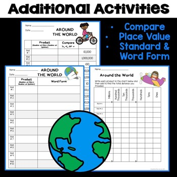 Around the World Math Game - Place Value, Addition & Multiplication