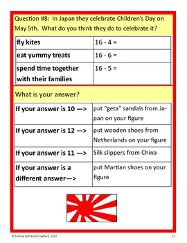 Around the World Math Goofy Glyph (1st grade Common Core)