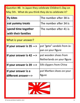 Around the World Math Goofy Glyph (Kindergarten Common Core)