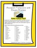 """Around the World"" Passport Template and Stamps- Homeschool Pack"