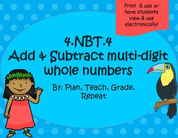 4.NBT.4 (Add & Subtract) Around the World