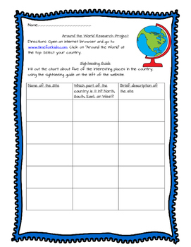 Around the World Research Template