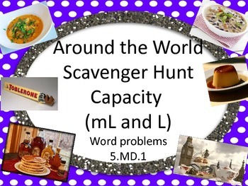 Around the World Scavenger Hunt Capacity mL and L