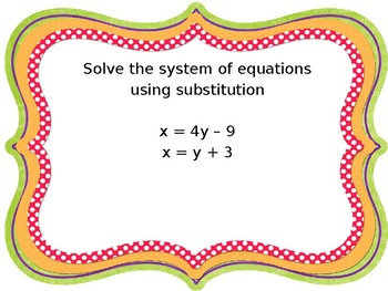 Systems of Equations - Substitution