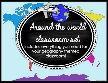 Around the World, Travel, & Geography Classroom Schedule Cards & Decor BUNDLED