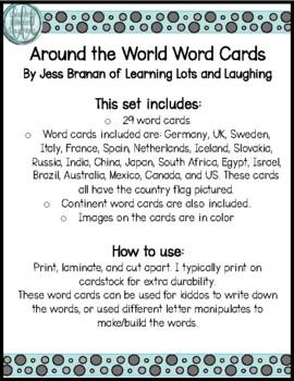 Around the World Word Cards