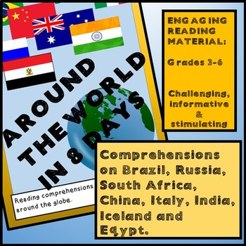 Reading Activities - AROUND THE WORLD IN 8 DAYS - India, Italy, Brazil and more!