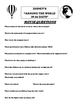 Around the World in 80 Days Movie Questions