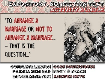 Arranged Marriage: EXPOSITORY, NON FICTION Text, Questions, Printables, CCSS