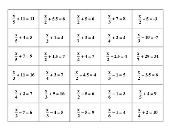 Arranging Two-Step Equations with Fractions Cards