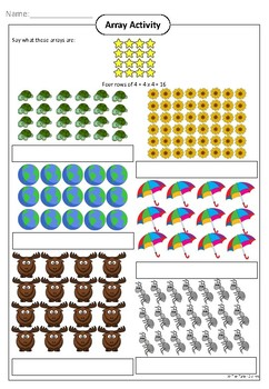 Array Activity (Multiplication) - Freebie